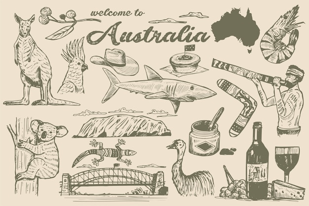 Hand drawn australia doodle, sketch style.