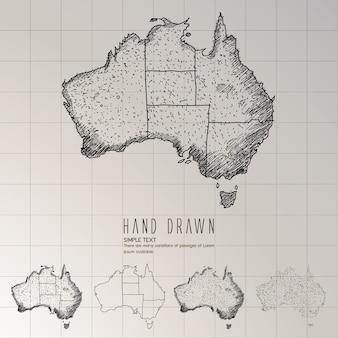손으로 그린 호주지도.