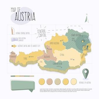 手描きオーストリア地図インフォグラフィック