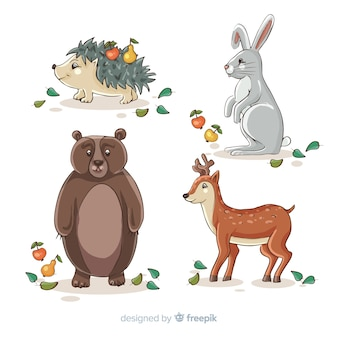 Hand drawn autumn animals collection