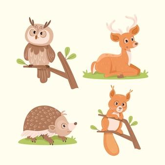 Коллекция рисованной осенних животных