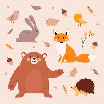 手描きの秋の動物パック