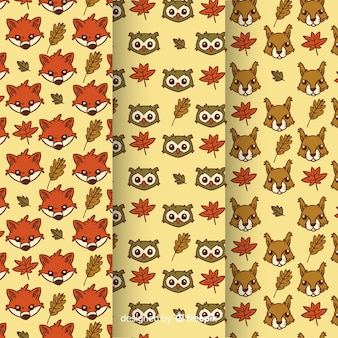 Hand drawn autumn animals pattern collection