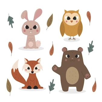 手描きの秋の動物セット