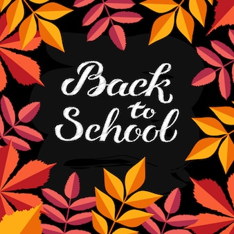 Hand drawn autumn back to school typography with cute colorful leaves in flat style