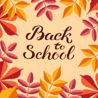 Hand drawn autumn back to school with cute colorful leaves in flat style