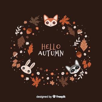 Hand drawn autumn background with animals