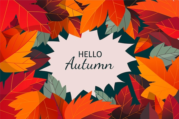 Hand drawn autumn background with colorful leaves