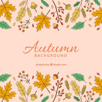 Hand drawn autumn background with colorful style