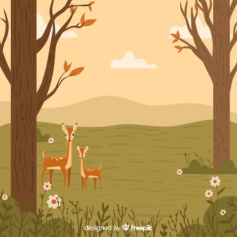 Hand drawn autumn background with deers