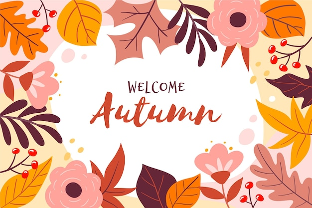 Hand drawn autumn background with different leaves