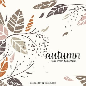 エレガントなスタイルで手描きの秋の背景