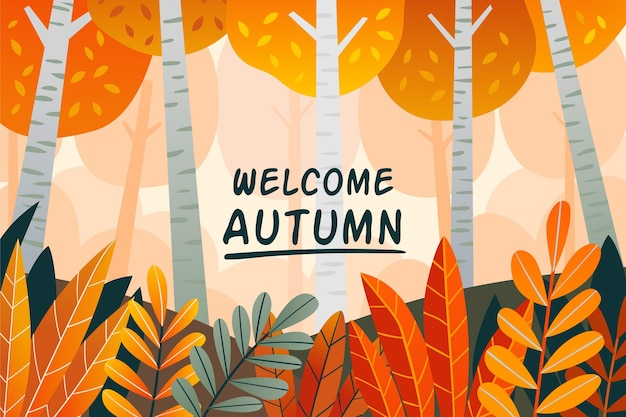 Hand drawn autumn background with forest