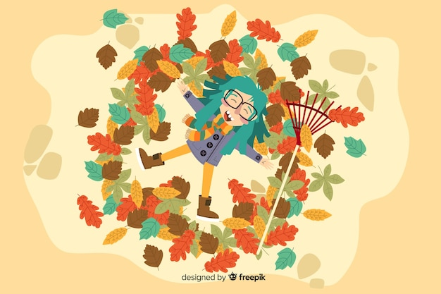 Hand drawn autumn background with girl