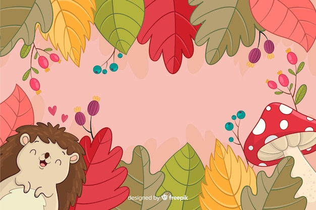 Hand drawn autumn background with hedgehog
