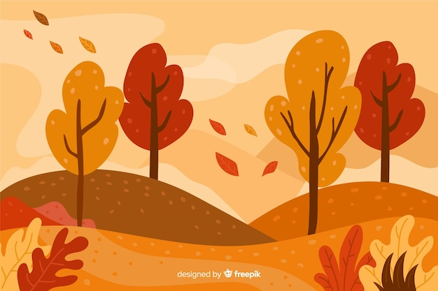 Hand drawn autumn background with landscape