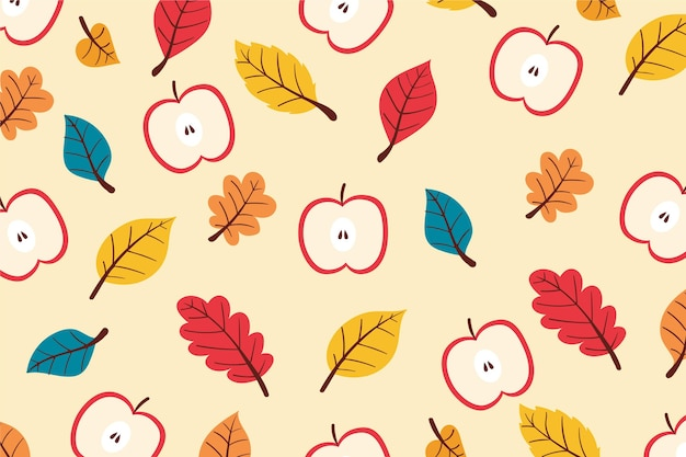 Hand drawn autumn background with leaves and apples