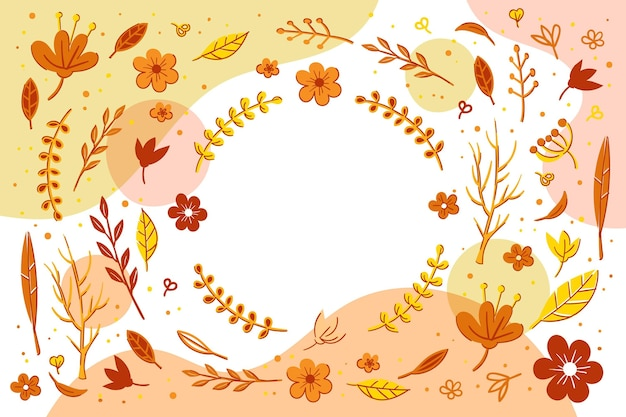Hand drawn autumn background with leaves and flowers