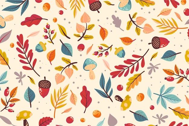 Sfondo autunno disegnato a mano con mix di foglie