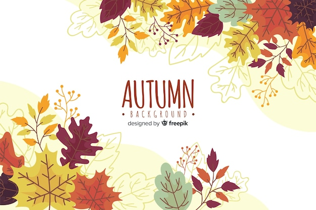 Hand drawn autumn background with leaves