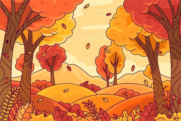 手描きの秋の背景