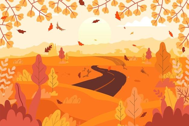 손으로 그린 가을 배경