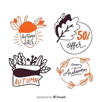 Hand drawn autumn badge collection