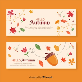 Hand drawn autumn banner collection