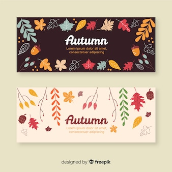 Hand drawn autumn banner collection