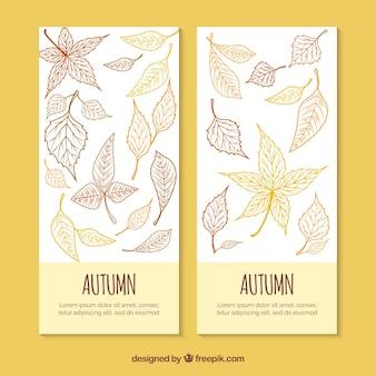 手描きの秋のバナーデザイン