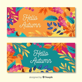Hand drawn autumn banner template