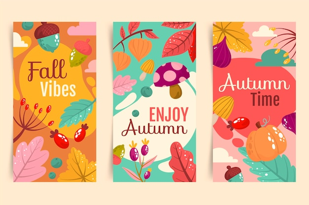 Hand drawn autumn banners collection