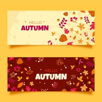 Hand drawn autumn banners set