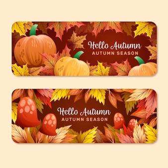 Hand drawn autumn banners template