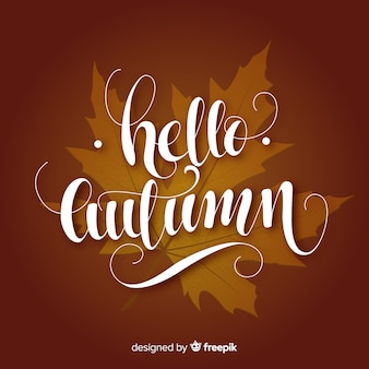 Hand drawn autumn calligraphic decorative background
