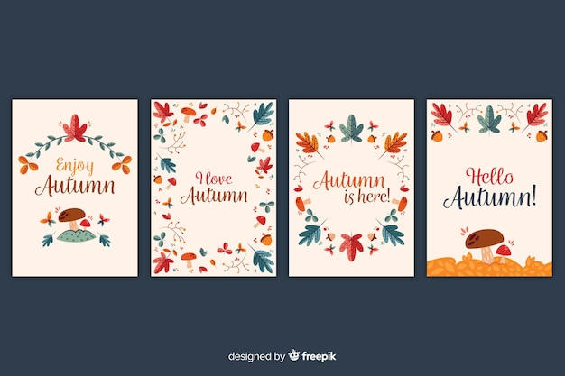 Hand drawn autumn card collection