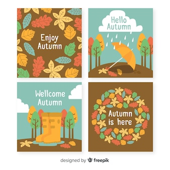 Hand drawn autumn card template collection