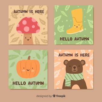 Hand drawn autumn cards collectio