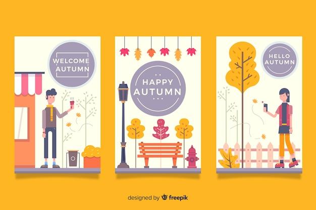 Hand drawn autumn cards collectio