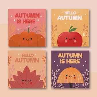 Hand drawn autumn cards collection