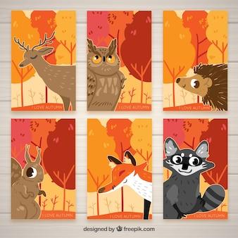 동물들과 함께 손으로 그린가 카드