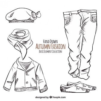 Hand-drawn autumn clothes