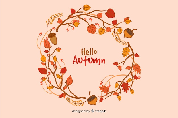 Hand drawn autumn decorative background