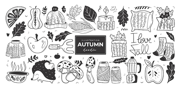 Hand drawn autumn doodle colorless illustrations set of cute vector objects