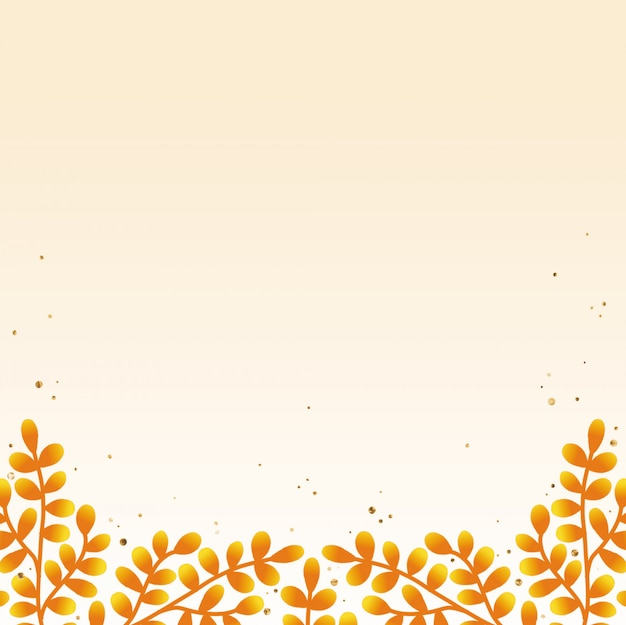 Hand drawn autumn foliage background with gold accent