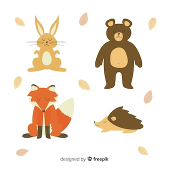 Hand drawn autumn forest animals collection