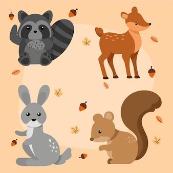 Pacchetto di animali della foresta di autunno disegnato a mano