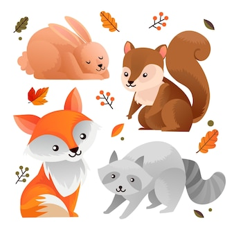 Ручной обращается осень лесных животных пакет