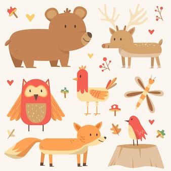 Hand drawn autumn forest animals