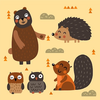 Hand drawn autumn forest animals